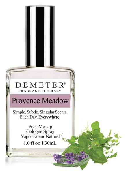 Provence Meadow -  Provence Meadow by Demeter Fragrance Library is a soft green scent, informed by the Herbs of Provence, including Fennel, Basil, Rosemary and Thyme, as well as leaves of Lavender. While we normally think of Herbs of Provence in their dried form for cooking, in typical Demeter fashion, we use fresh, living herbs to achieve this unique result.