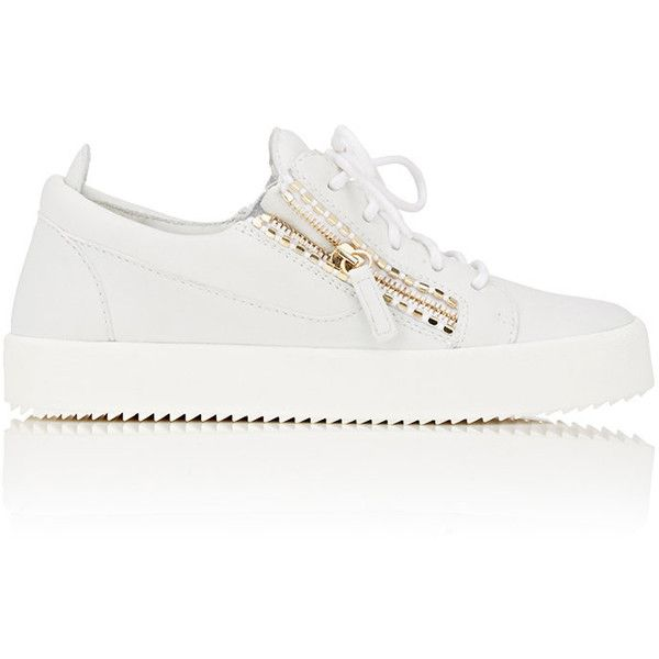 Giuseppe Zanotti Women's Double-Zip Low-Top Sneakers ($675) ❤ liked on Polyvore featuring shoes, sneakers, white, leather lace up shoes, giuseppe zanotti sneakers, giuseppe zanotti shoes, low top and white leather sneakers