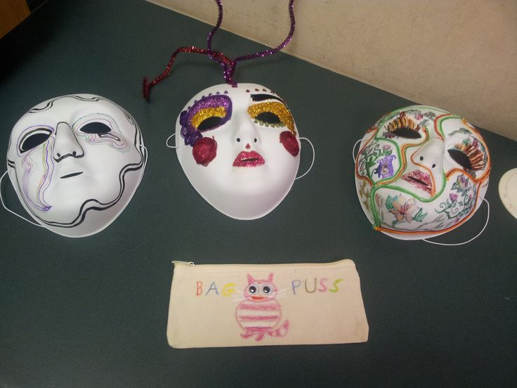 Masks and pencil case designed and made by volunteers on a 31 day residential study.