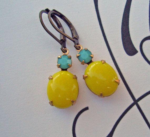 Bright Yellow Earrings Turquoise Jewelry Blue by ParisienneGirl, $19.00