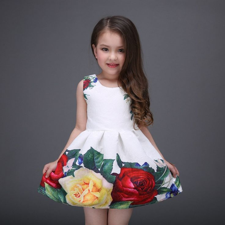 """Item specifics Department Name:Children Gender:Girls Decoration:Flowers Sleeve Style:Regular Pattern Type:Floral Brand Name:Others Style:""""European and American Style Material:Cotton,Linen Dresses Leng"""