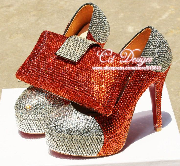 Handmade Luxury Genuine Leather Red Silver  Italian Shoes And Matching Bag