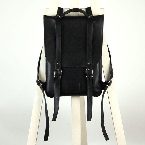 Zwart lederen rugzak rugzak / te bestellen / Black Leather rugzak / Lederen rugzak / Lederen rugzak / Womens rugzak / Gift van Kerstmis