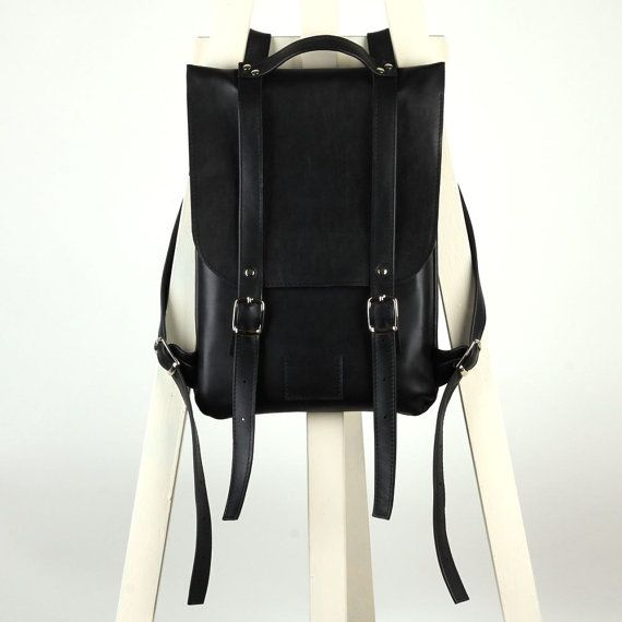 Black leather backpack rucksack / To order / kokosina