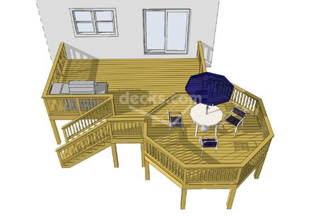 Deck octagon plans woodworking projects plans for Octagon deck plans free