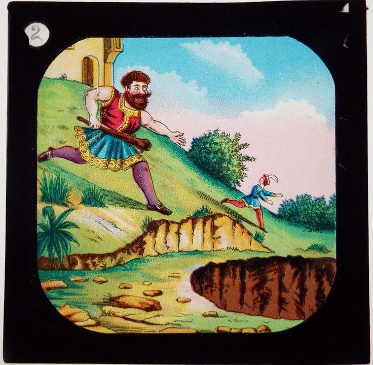 JACK THE GIANT KILLER - SET OF 12 ANTIQUE MAGIC LANTERN SLIDES
