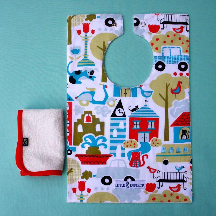 'Let's Go To Town' organic cotton bib and matching red facecloth - by Little Emperor. #organiccotton #GOTScertified #bamboo #unisex #handmade #baby #newborngift  #Australia #kids #baby #babyshower #handmade #buylocal #buyAustralian