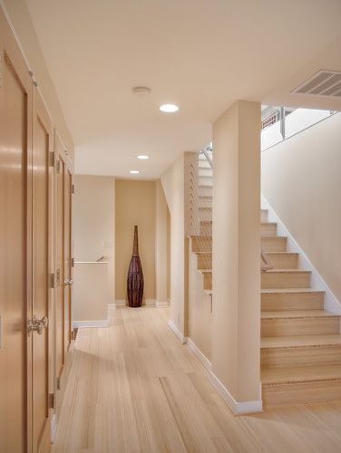 """light bamboo floor--available at Bamboo hardwoods- Vertical grain carbonized bamboo. Flooring is tongue groove flooring. Stair treads ar cut from 3/4"""" bamboo plywood. Available at Bamboo hardwoods"""