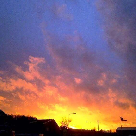 Sunset looks like fire