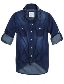 Justice Clothes for Girls Outlet | Embellished Collar Denim Shirt | Girls Shirts Clothes | Shop Justice