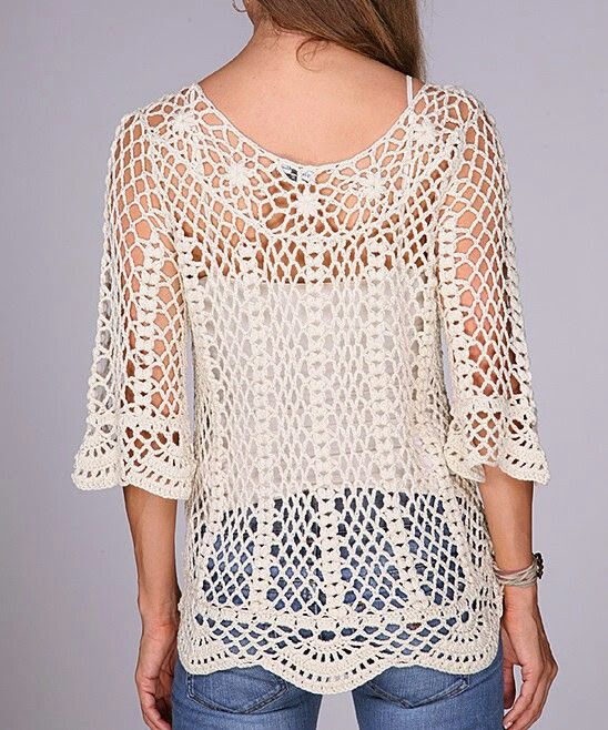 Remera super calada a crochet