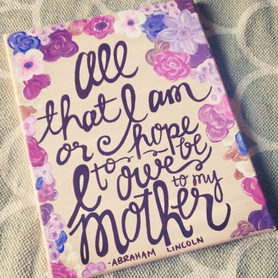 Beautiful hand-painted canvases - this one is perfect for a mom!
