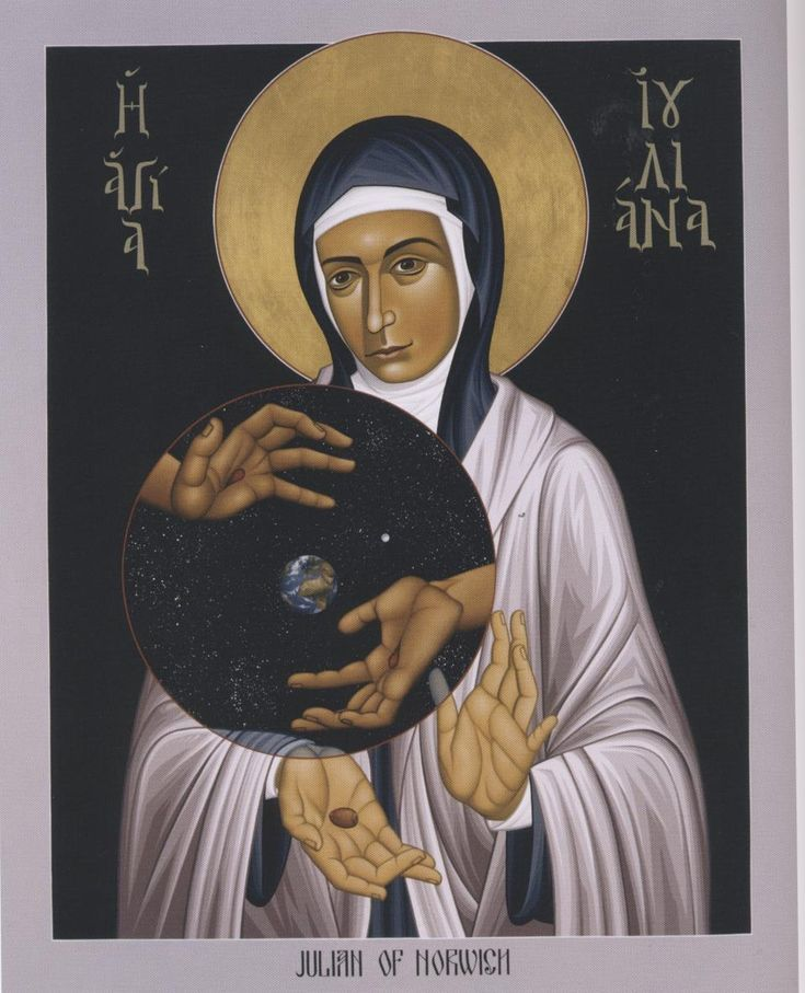 "Blessed Julian of Norwich In this vision he showed me a little thing, the size of a hazelnut, and it  was round as a ball. I looked at it with the eye of my understanding and  thought ""What may this be?"" And it was generally answered thus: ""It is all that is  made."" I marvelled how it might last, for it seemed it might suddenly have  sunk into nothing because of its littleness. And I was answered in my  understanding: ""It lasts and ever shall, because God loves it."""