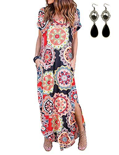 93509a0a6 PIPIHU Robe Longue Femme Robe d'été Filles Manches Courtes Robe de ...