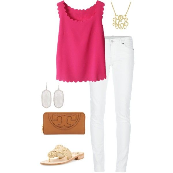 Summer preppy outfit by perfectlypreppy15 on Polyvore featuring polyvore, fashion, style, Denim & Supply by Ralph Lauren, Jack Rogers, Tory Burch and Kendra Scott