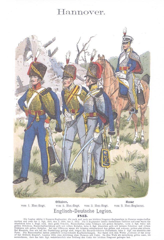 Band III #35.- Hannover: Englisch-Deutsche Legion. Offiziere vom 1., 2. und 3.Husaren-Regiment. Husar vom 3. Husaren-Regiment. 1813.