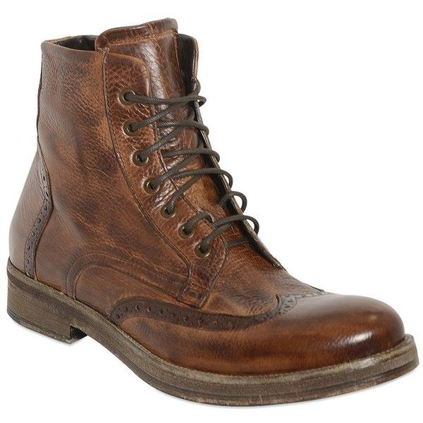 Ve.ni. Shoes Men Zipped Brogue Leather Boots (€125) ❤ liked on Polyvore…