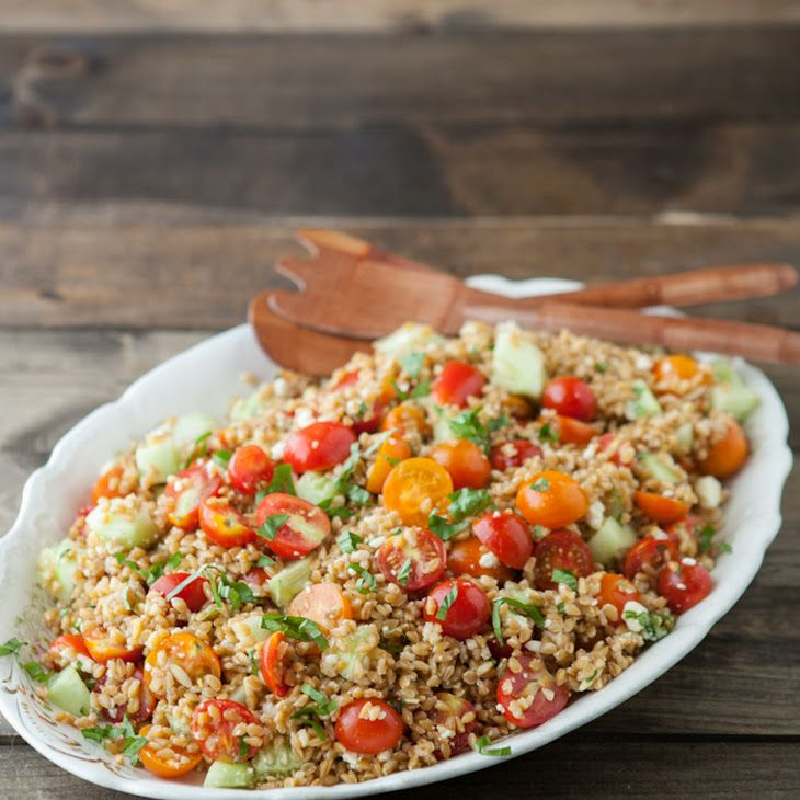 Farro salad, Salads and Cherry tomatoes on Pinterest