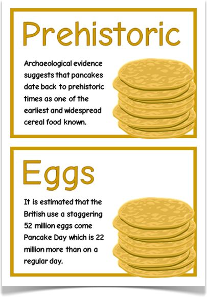 Pancake Day Fact Cards - Treetop Displays - EYFS, KS1, KS2 classroom display and primary teaching aid resource