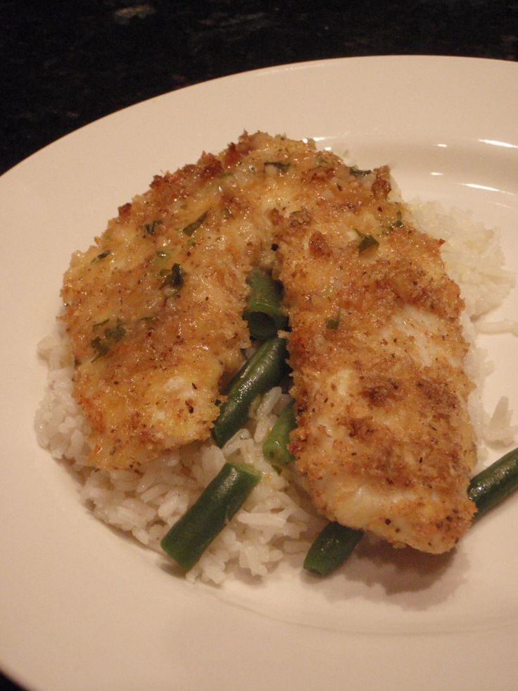Panko Encrusted Tilapia - Substituted crushed pork rinds for panko crumbs {Paleo}