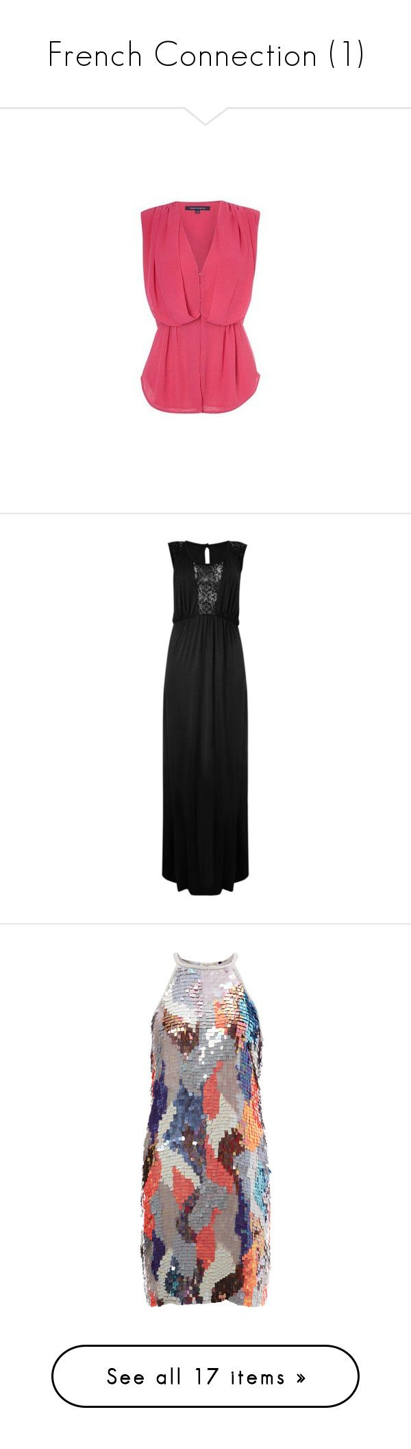 """""""French Connection (1)"""" by brittneysaysrawrrr ❤ liked on Polyvore featuring tops, tanks, french connection, pink top, checkered top, french connection tops, dresses, embroidery maxi dress, ruched maxi dress and round neck dress"""