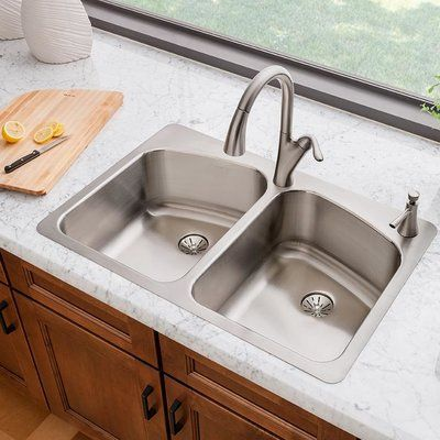 Elkay Lustertone 33 X 22 Double Basin Drop In Kitchen Sink With