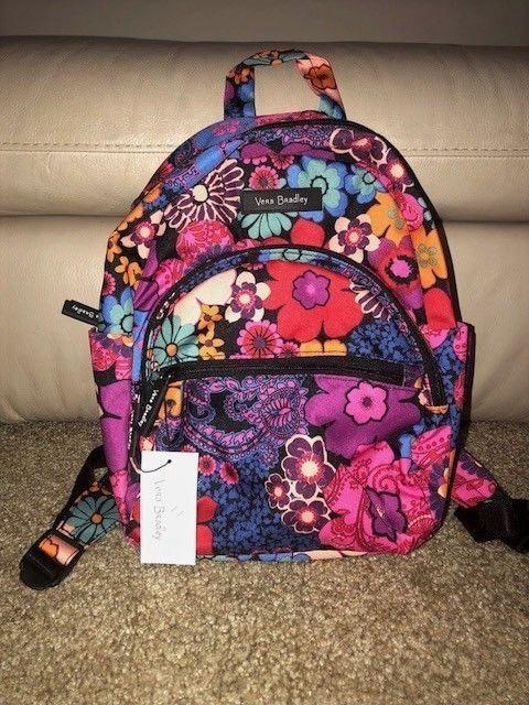 2f6bdaec04 Vera Bradley NWT Lighten Up Compact Essential Backpack Floral Fiesta ...