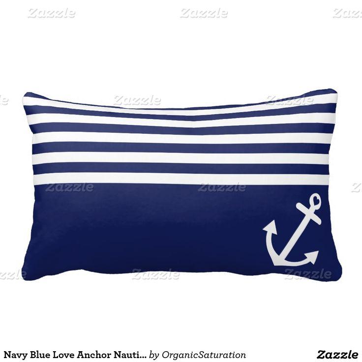 navy blue love anchor nautical lumbar pillow