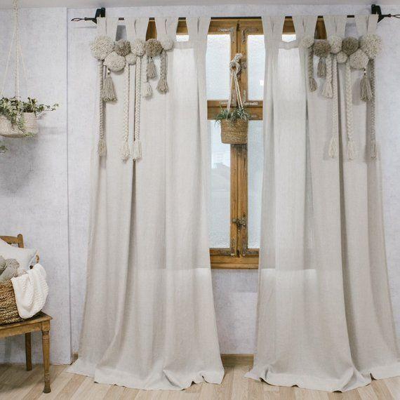 Pompom Curtain Linen Curtain Macrame Curtain Pompoms Boho Chic