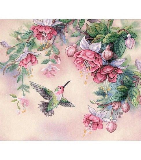 Dimensions Hummingbird & Fuchsias Stamped Cross Stitch Kit