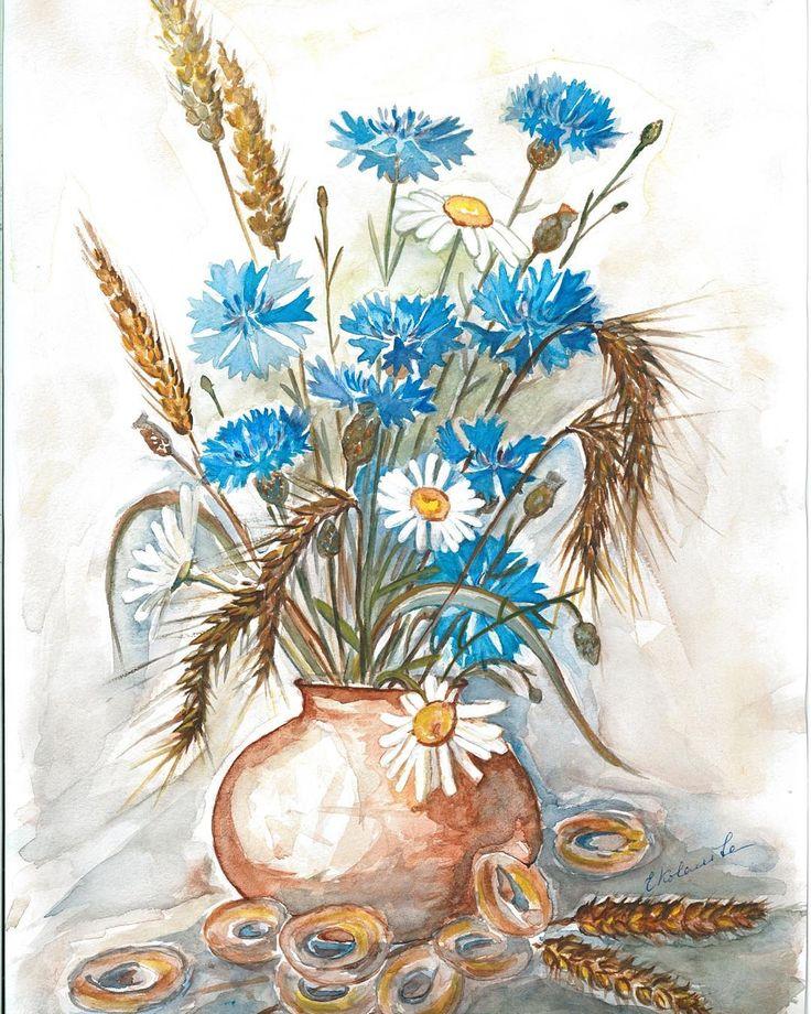 Поздравления открытки, ромашки и васильки картинки рисовать