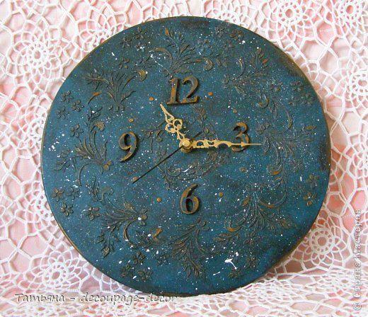 Декор предметов Декупаж Часы Бирюзовый узор Дерево Краска фото 1