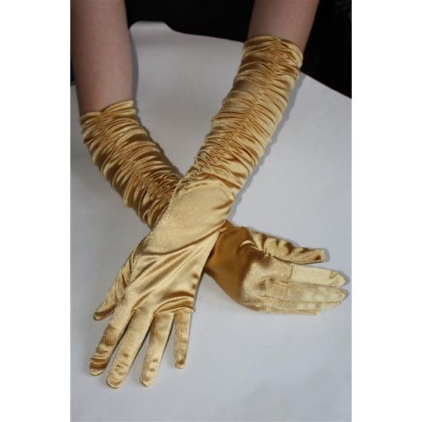Long Gold Satin Gloves (33 BRL) ❤ liked on Polyvore featuring accessories, gloves, long gloves, gold glove, long gold gloves, gold satin gloves and long satin gloves