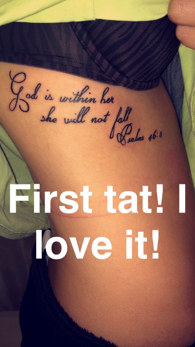 """""""God is within her, she will not fall."""" Psalm 46:5. Tattoo. Rib cage. Red gypsy tattoo. First tattoo and I'm in love! Definitely will not be the last."""
