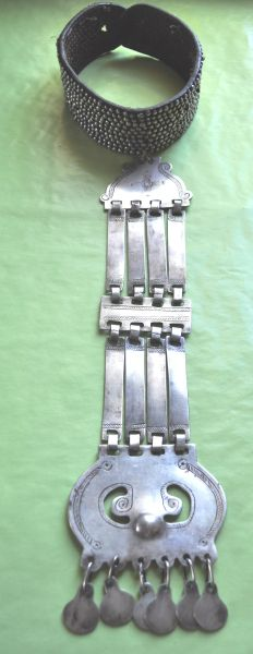 Childe   Long pectoral silver necklace with collar.  Mapuche culture   19th Century.
