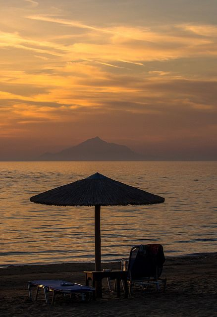Sunshade & Sunset, Lemnos, Greece
