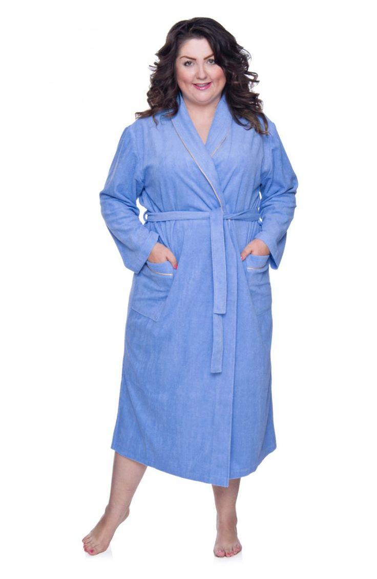 Dzianinowy szlafrok w kolorze błękitnym - Modne Duże Rozmiary