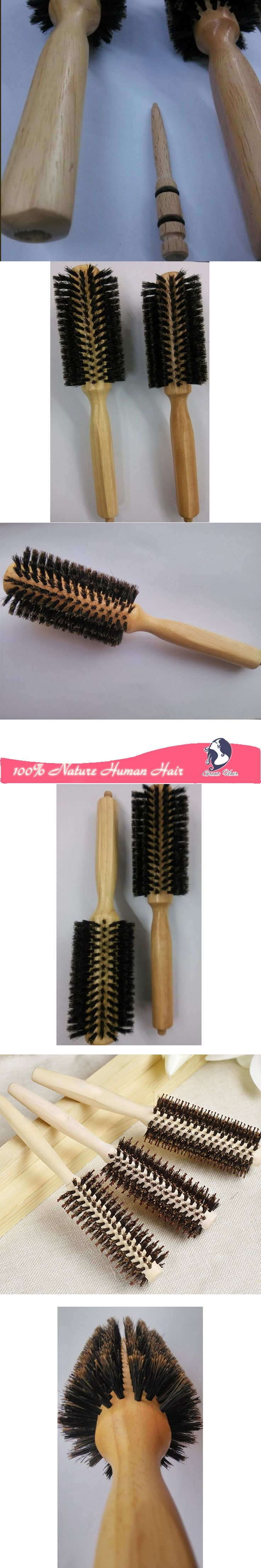 straight line Curly Hair Brush Comb log Wood Handle Pig Mane  Hair Comb Brush Antistatic Detangling Massage Hairbrush Styling