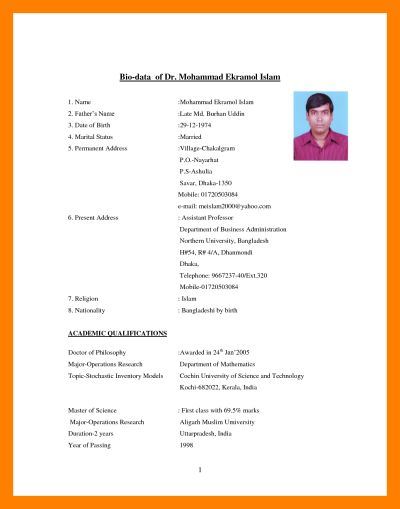 sample resume for marriage proposal