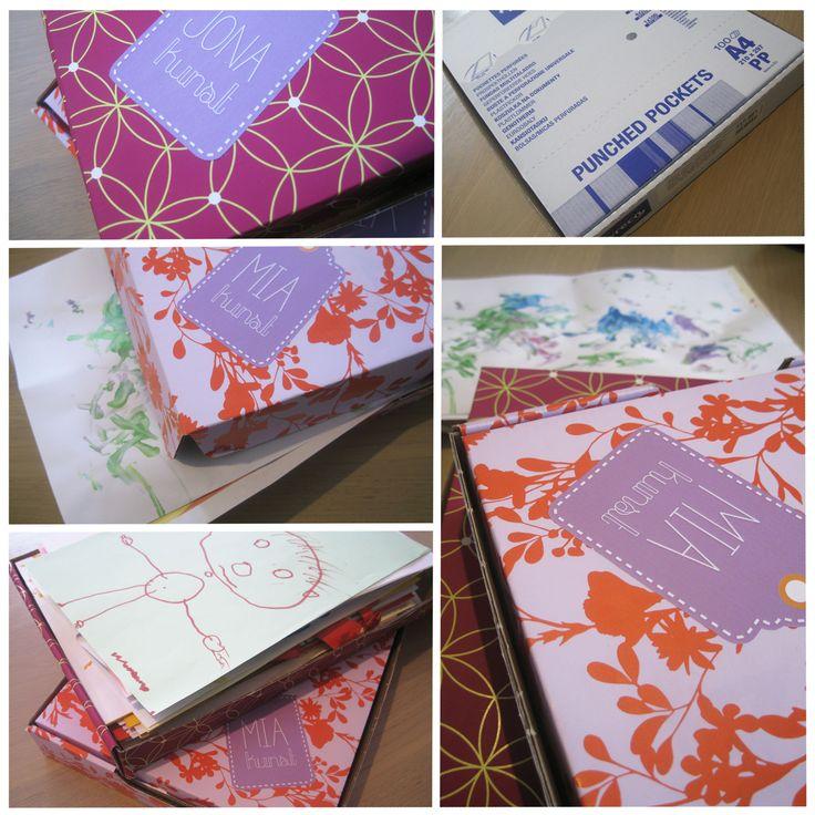 """Met onze kleine tekenwonders in huis stapelen de tekeningen en """"kunstwerken"""" zich op. Maar waar laat je al deze tekeningen en hoe kan je ze mooi bewaren (zonder kreuken)?  En heel gemakkelijke manier om de tekeningen op te bergen is een leuke verzameldoos te maken. Ik heb hiervoor gekozen voor kartonnen dozen (van plastic kaftjes) en deze bekleed met vrolijk inpakpapier. Nu alleen nog personaliseren met een grote sticker en klaar…"""