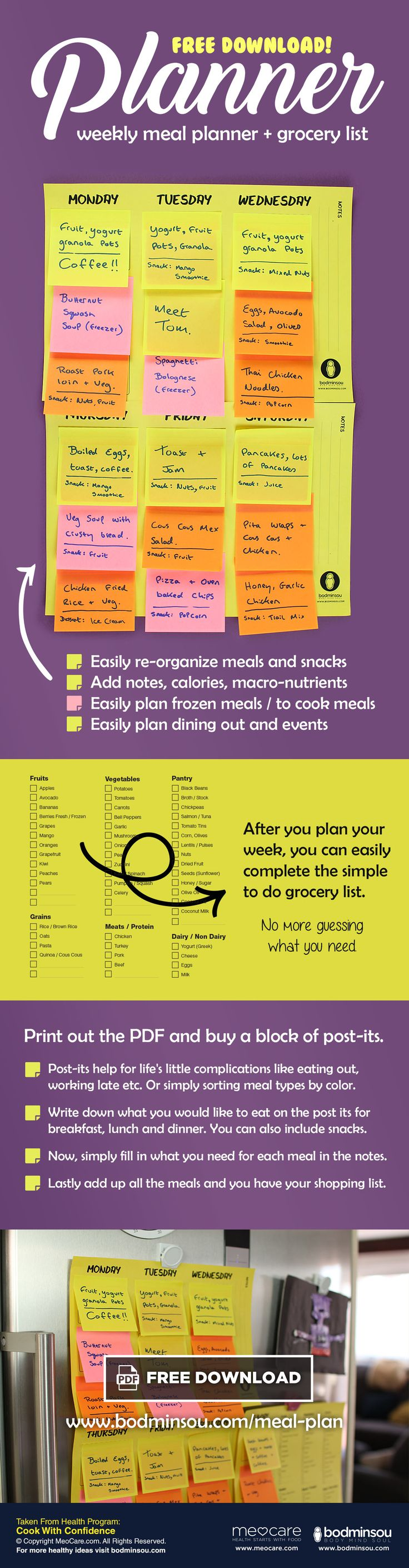 Planning what you will eat for the week ahead is a great way to save time and money. Making a meal plan can be complicated, which is why we designed a simple meal planner for beginners. Download our free meal plan to get started.