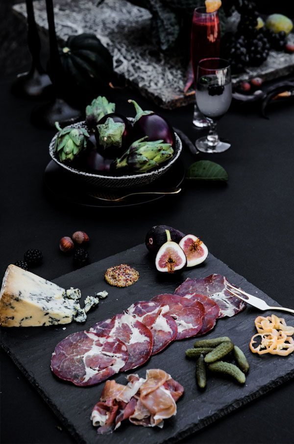 what a gorgeous, moody charcuterie board... perfect for long dark nights and good friends... via aidamollenkamp.com