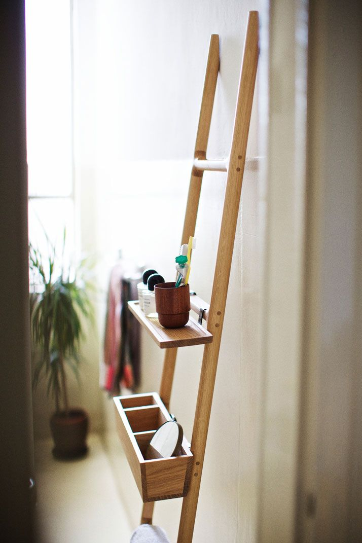 TILT, oak hanger-ladder with one shelf and one tray designed by SmithMatthias for Discipline, photo by Paul Barbera