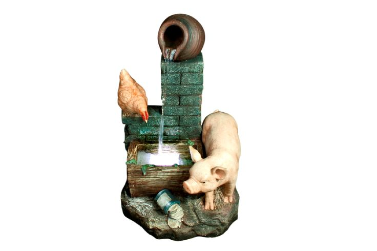 Pig Water Feature. 80cm High, includes pump and light. Our enormous on-site warehouse in Perth is continually stocked with water features, meaning you can find what you love and take it home today! Drovers inside and out.
