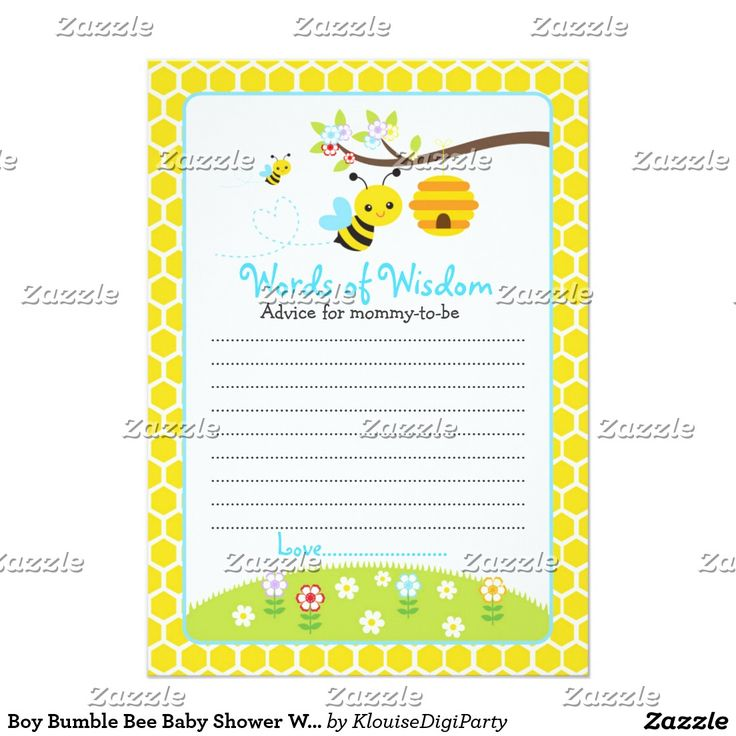 Boy Bumble Bee Baby Shower Words of Wisdom Card