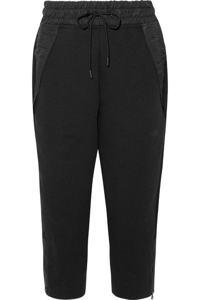 Nike - Tech Fleece Cropped Shell-trimmed Cotton-blend Track Pants - Black - x large