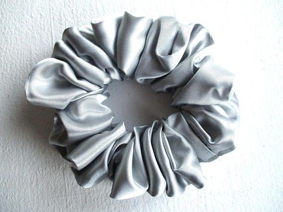 silver scrunchie light gray satin scrunchie large hair