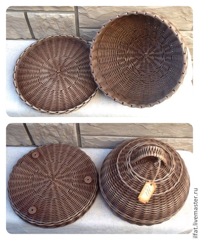Купить Хлебница круглая - коричневый, хлебница плетёная, корзинки плетёные, коробки плетёные, для хлеба