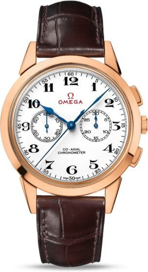 Limited Edition Omega Olympic Official Timekeeper.For this model, the unique 18K pink gold case features a polished crown embossed with a vintage OMEGA symbol. On the lacquered white dial, another vintage OMEGA symbol appears in red, and there are two subdials at 3 o'clock and 9 o'clock all capturing the time with blue steel hands.