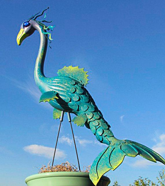 Mermaid Flamingo garden art, handmade, lawn art, lawn sculpture, up-cycled plastic flamingo.
